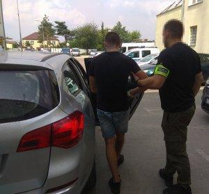 zatrzymany mężczyzna doprowadzany przez policjanta wsiada do radiowozu.